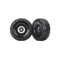 TRAXXAS TIRES & WHEELS, ASS 105 BLACK CHROME BEADLOCK, CANYON TRAIL 1.9' TIRES (1 LEFT, 1 RIGHT) - 38-8174