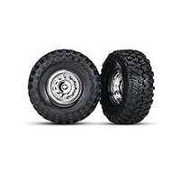 TRAXXAS TIRES AND WHEELS, ASSEMB, GLUED CHR - 38-8177