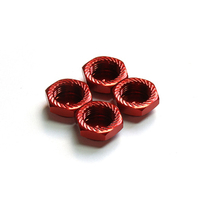 Argus Serrated Cap Nut M12*1.0 Red (4Pcs)-Alumina Material - Ag05-260101