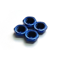 Argus Serrated Cap Nut M12*1.25 Blue (4Pcs)-Alumina Material - Ag05-260201