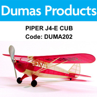 Dumas 202 Piper J4-E Cub Coupe Walnut Scale 17.5 Inch Wingspan Rubber Power - Duma202