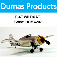 Dumas 207 F-4F Wildcat Walnut Scale 17.5 Inch Wingspan Rubber Powered - Duma207