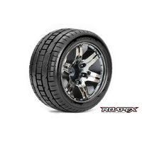 Roapex Trigger 1/10 Stadium Truck Tire Chrome Black Wheel With 1/2 Offset 12Mm Hex Mounted - R2001-Cb2