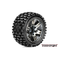 Roapex Tracker 1/10 Stadium Truck Tire Chrome Black Wheel With 1/2 Offset 12Mm Hex Mounted - R2002-Cb2
