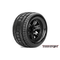Roapex Trigger 1/10 Monster Truck Tire Black Wheel With 1/2 Offset 12Mm Hex Mounted - R3001-B2
