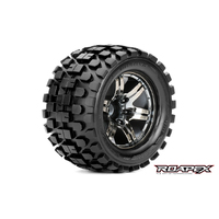 Roapex Rhythm 1/10 Monster Truck Tirechrome Black Wheel With 1/2 Offset 12Mm Hex Mounted - R3003-Cb2